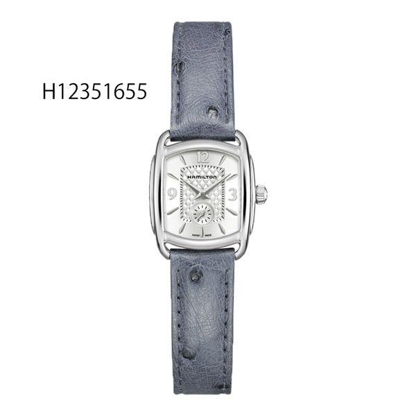 正規品ハミルトン腕時計H12351655バグリー(レディス)銀色文字盤/ブルーグレー色オーストリッチストラップメーカー2年保証HAMILTONBAGLEY[日本限定モデル]【送料無料】