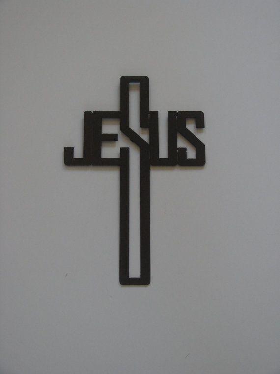16 Gauge Steel Art Deco Jesus Name Cross by Metalheadartdesign, $24.99