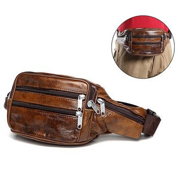 Men Genuine Leather Waist Bag Vintage Cycling Chest Bag Big Capacity Crossbody Bag