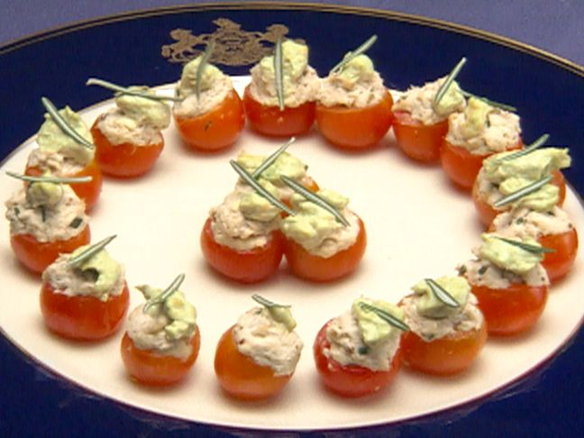 Cherry Tomatoes Stuffed with Chicken Apple Salad from FoodNetwork.com