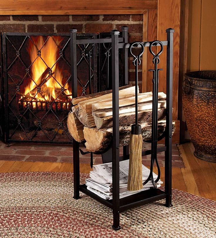 Log Bin With Fireplace Tools