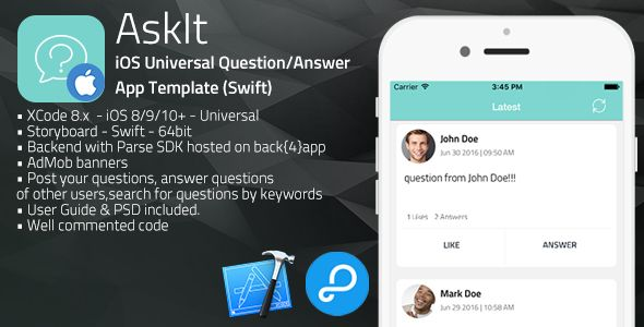 AskIt | iOS Universal Questions/Answers App Template (Swift) . AskIt has features such as Compatible With: Swift, Software Version: iOS 10.0.x, iOS 9.0.x, iOS 8.4.x, iOS 8.3.x, iOS 8.2.x, iOS 8.1.x, iOS 8.0.x