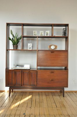 1960 S Mid Century Room Divider Entertainment Bar Bookcase Eames Era Danish