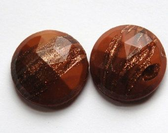 Vintage Copper Colored Faceted Glass with Goldstone 18mm cab780D