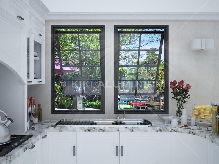 Jendela Casement dengan panel kaca polos dan variasi grid untuk estetika; Finishing profil aluminium powder coating warna black satin