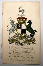 Antique Coat of Arms 1700's Edmondson Heraldry George Byng Viscount Torrington