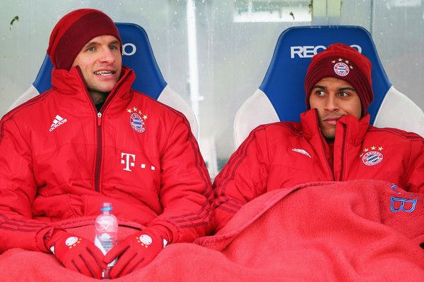 Thomas Mueller Photos Photos - Thomas Mueller (L) and Thiago Alcantara of Muenchen sit on the bench prior to a friendly match between Karlsruher SC and FC Bayern Muenchen at Wildpark Stadium on January 16, 2016 in Karlsruhe, Germany. - Karlsruher SC v FC Bayern Muenchen  - Friendly Match