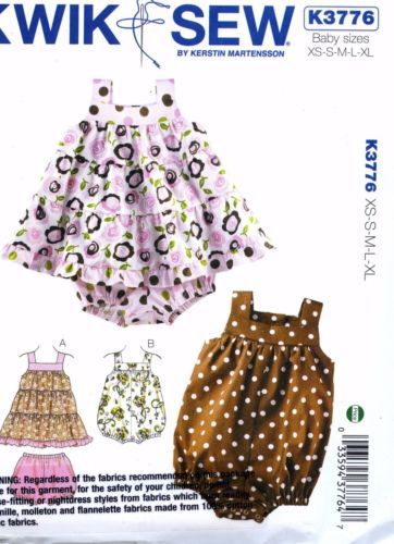 NEW-Uncut-Kwik-Sew-K3776-Baby-Girl-Bloomers-Nappy-Cover-Dress-Romper-Pattern