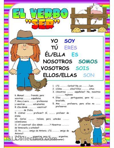 El verbo SER trabajos - Hojas de trabajo de ELE gratuitas