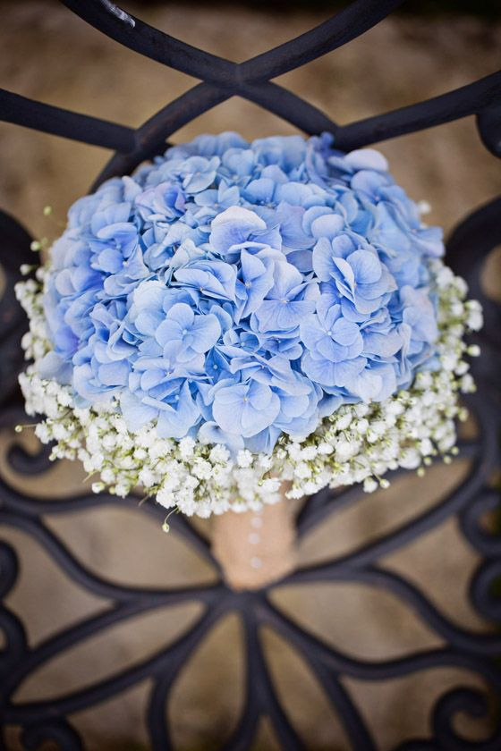 Baby Blue Hydrangea & white Gypsophila (babys breath) hand tied with hessian bridal Bouquet. Wedding at Craigsanquhar Hotel, photo by Lifetime Photography