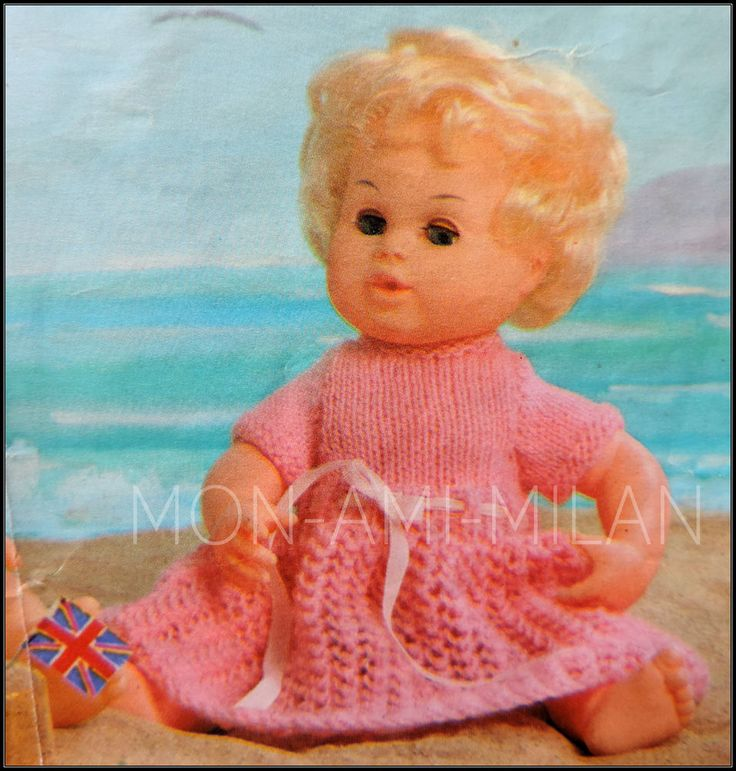 "Knitting Pattern • Baby Dolls Clothes • Pretty Lacy Dress • 12/16/20"" • 4 Ply"