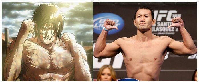 Shingeki no kyojin  manga-anime Ataque a los Titanes cuenta con un enorme repertorio de terroríficas y gigantescas criaturas. Y algunos de los titanes más peligrosos estarían basados en luchadores de la MMA. Por ejemplo, el luchador de la WWE y campeón de la UFC Brock Lesnar habría servido como inspiración para crear al titán acorazado. Mientras que Yushin Okami, de la MMA habría servido como inspiración a otro titán que pudimos ver en la primera temporada de Shingeki no Kyojin.