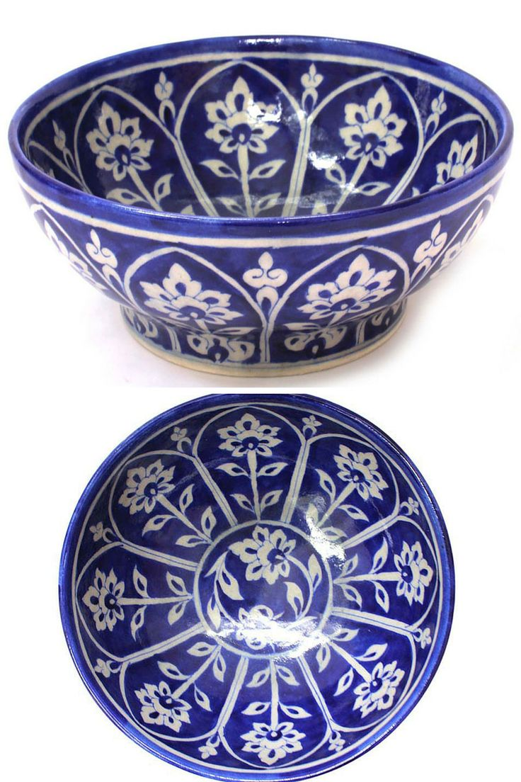 Blue pottery bowl from Jaipur. Perfect piece to add a splash of a colour and ethnic touch to the space.