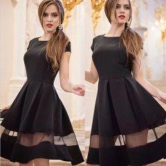 Nádherné černé dámské šaty s průsvitným pruhem - SLEVA 60 % + POŠTOVNÉ ZDARMAPošta Zdarma