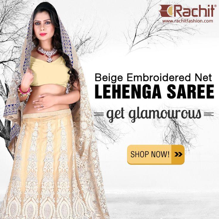 Buy Glamourous Beige Embroidered Net Lehenga Saree at #rachitfashion  #fashion #clothing #shopping #bridal