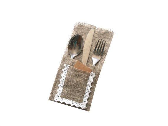 Burlap utensil holder Lace silverware holder Linen by MiniShopLV, $12.00