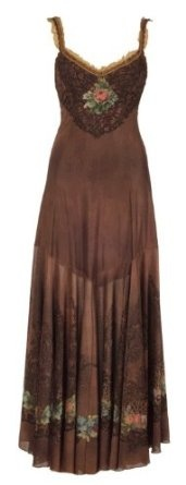 Michal Negrin Evening Brown Long Dress Designed with Victorian Inspired Roses Motif on Bodice and Hemline, Lace Trim Edge and Lace Straps,$1,128.00