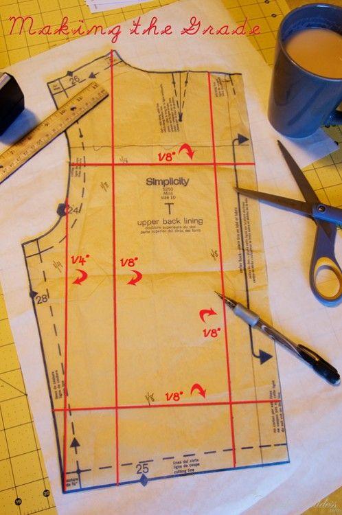 Grading patternsSmaller Pattern, Grade Pattern, Pattern Grade, Sewing Pattern, Make A Pattern A Larger Size, Fashion Design, Vintage Pattern, Pattern Guide Sewing, Fashion Stitches