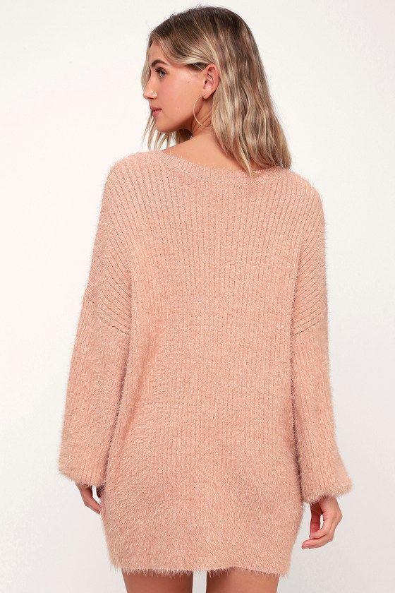 67613cec2b62 Lulus | Slater Blush Pink Fuzzy Sweater Dress | Size S/M in 2019 ...