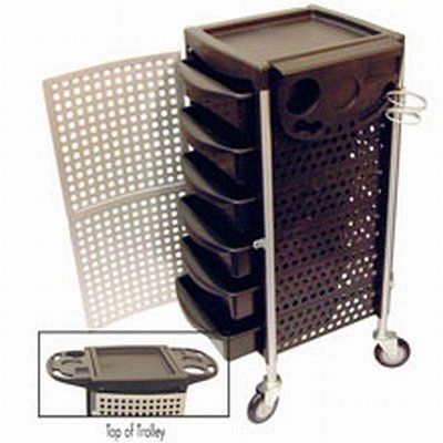 """Celebrity 6-Tray Lockable Salon Trolley With Organizer by Celebrity. $341.44. Tray size: 15""""x 12""""x 3-1/2"""" deep.. Hairdryer holder.. 6 sliding trays with removable dividers.. Trolley height: 35-1/2"""".. Compact folding top tray with organizer.. Celebrity 6 Tray Lockable Salon Trolley with Organizer, The Celebrity 6 Tray Lockable Salon Trolley with Organizer allows you to organize all of your salon equipment with 6 sliding trays and a lockable front door."""