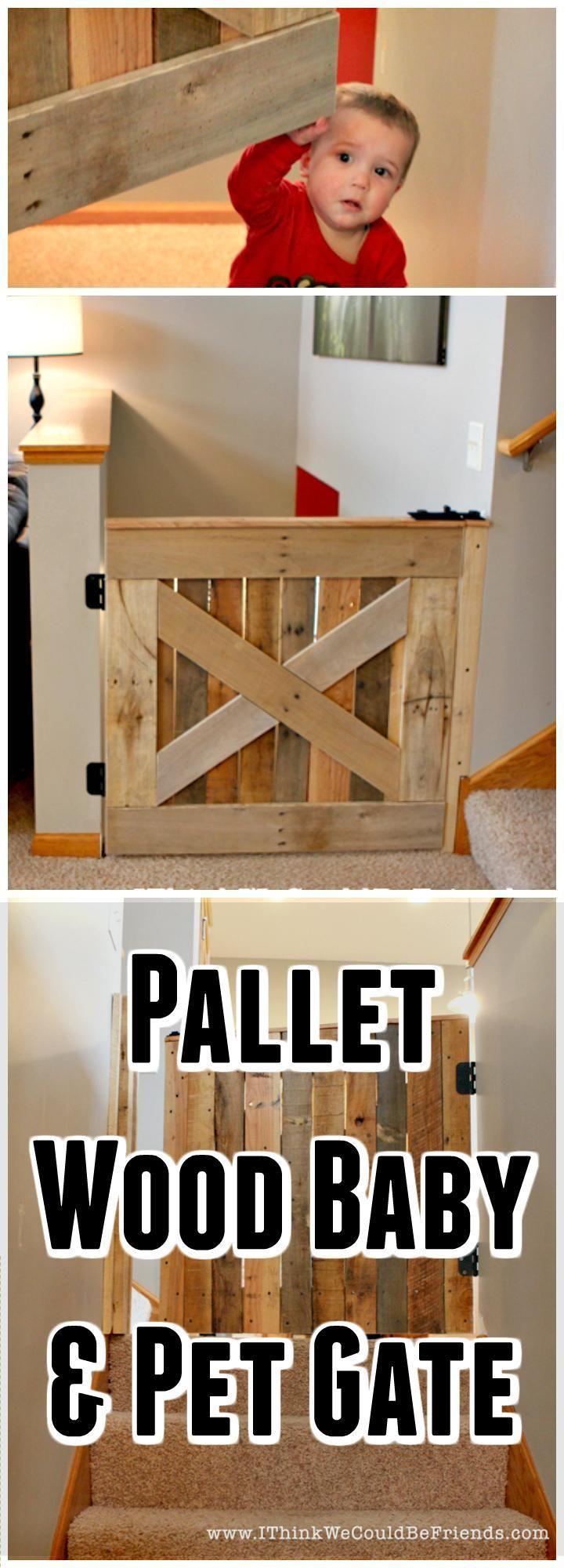 Pallet Wood Baby/Pet Gate - 30 Best DIY Baby Gate Tutorials on Cheap Budget   DIY & Crafts
