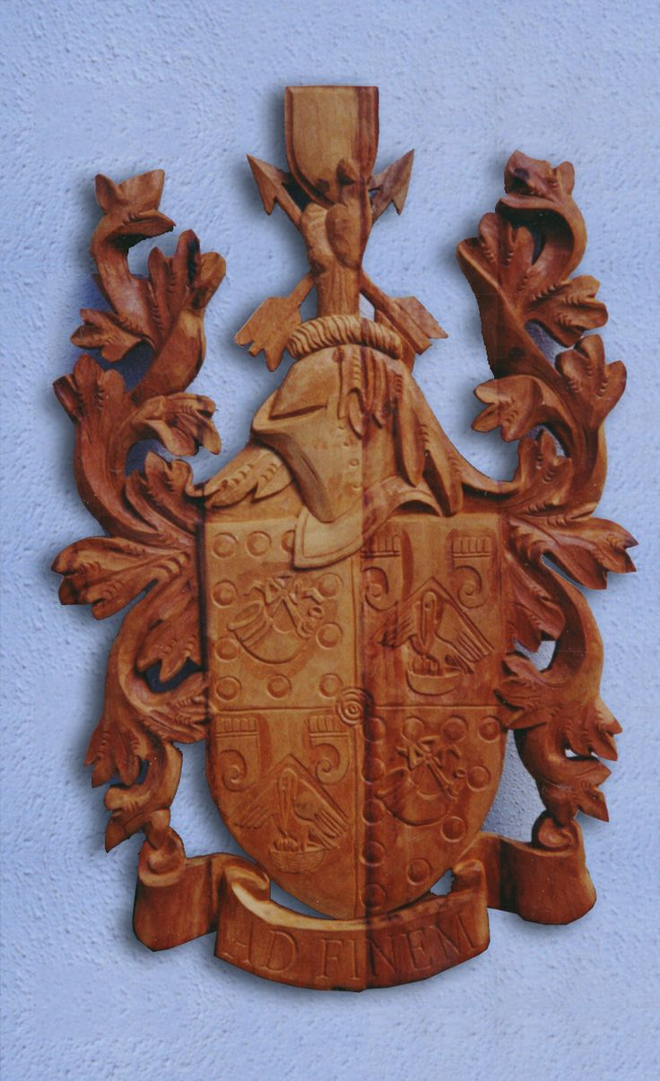 Hunting Family Coat of Arms. Hand Carved from Railway sleepers.   Approx 1m tall  Custom made by Sign Carver Cape Town http://www.signcarver.co.za/coats-of-arms/