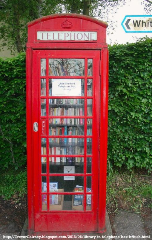 Little Shelford Phone Box Library. Cambridge, England, UK www.LittleShelford.com/home/phonebox-library Inspired by Westbury's 2009 phone booth book exchange, telephone boxes have been converted to to little libraries & book exchanges throughout England.   http://www.dailymail.co.uk/news/article-1232331/The-red-phone-box-Britains-smallest-library.html