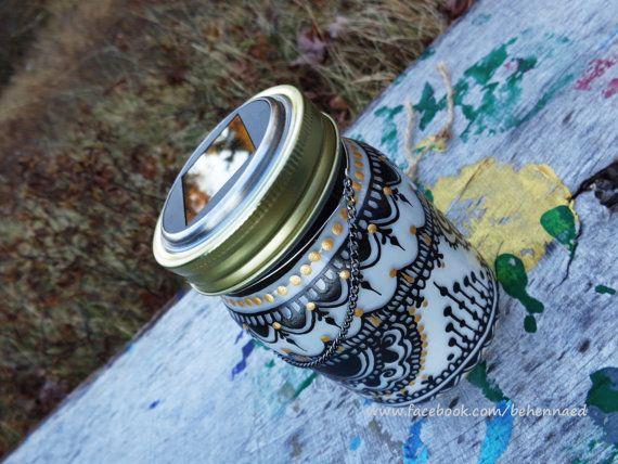 Tarro solar Linterna marroquí blanco/negro por Behennaed en Etsy