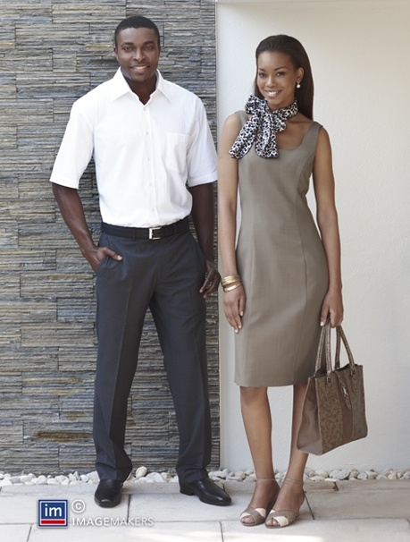 Nice taupe colour dress and mens short sleeve collared shirt. Love the leopard print scarf..