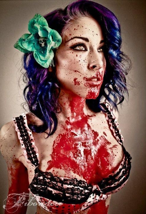 hot zombie girl - Just bc she has blood all over her doesn't make her a zombie - she has no sign of transformation yet... She might have brutally murdered her bf or something... Why jump to such harsh conclusions? Geez!