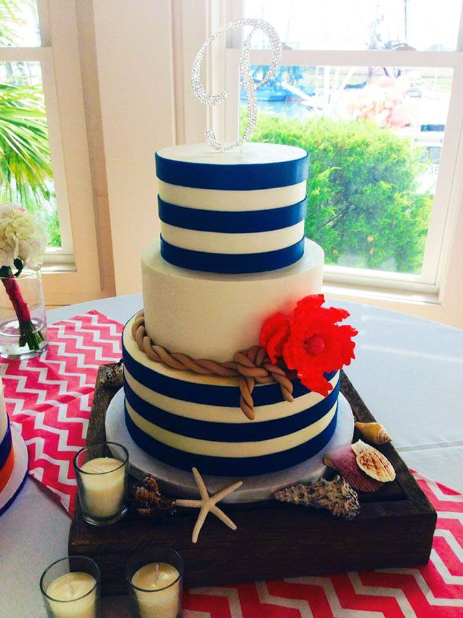 beach themed wedding cakes pinterest%0A More ideas  Blue striped cake by Declare Cakes perfect for a beach wedding