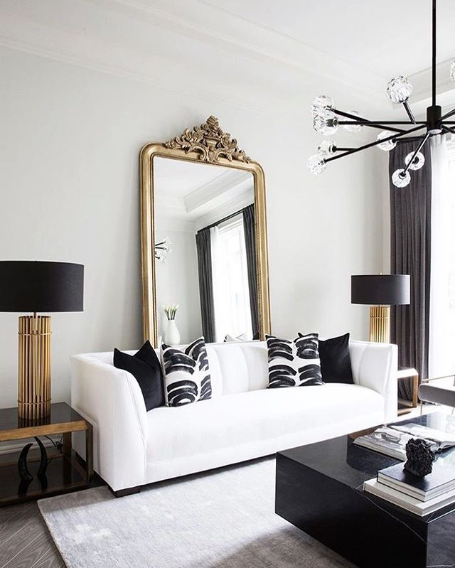 Living Room Inspo Black White Minimal Decor W Gold Accent