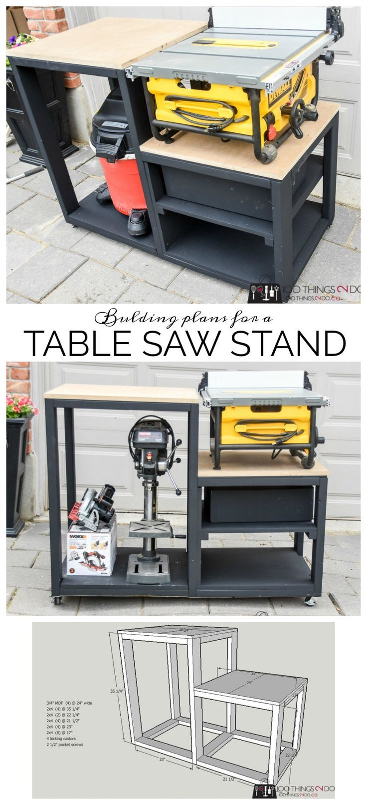 table saw stand diy furniture diy table saw table saw stand rh pinterest com