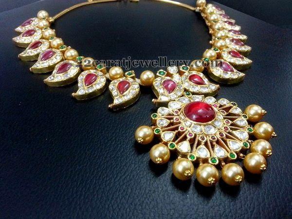 Jewellery Designs: Real Uncut and Polki Mango Set