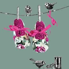 Stasia Scarlet Ribbon Baby Pram Shoes- Artwork