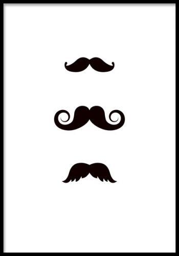 Mustasches, poster. Svartvit hipster poster. Tavla med mustascher. Svartvit poster i grafisk stil med mustascher. Riktigt snygg i svart ram och ihop med fler posters, t. ex Mr Hipster som går i samma stil.