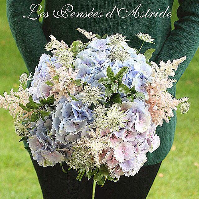 {Noces d'émeraude}  Bouquet d'Hortensia, Astilbe & Astrancia.