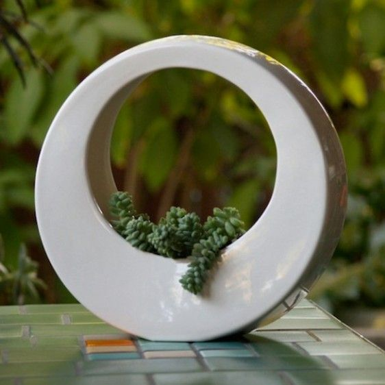 Modern Garden Design With White Circle Pot. Hanging PlantersSucculent  PlantersCeramic ...