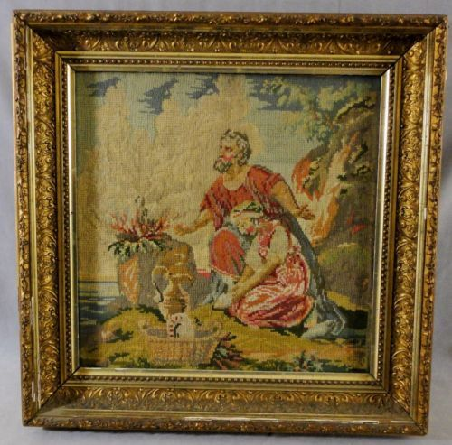 Antique-Religious-Needlepoint-Abraham-and-Isaac-Mount-Moriah-in-old-gilt-frame