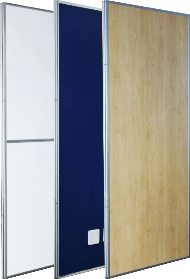 Able's Reusable Dry Wall demountable panels available in various finishes with or without power conduit.