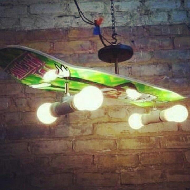 Skate board light fixture Cool!