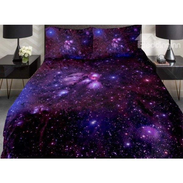 Amazing Shining Purple Galaxy Print 4-Piece Duvet Cover Sets ($161) ❤ liked on Polyvore featuring home, bed & bath, bedding, duvet covers, purple bedding, purple duvet cover sets, outer space bedding, galaxy bedding and outerspace bedding