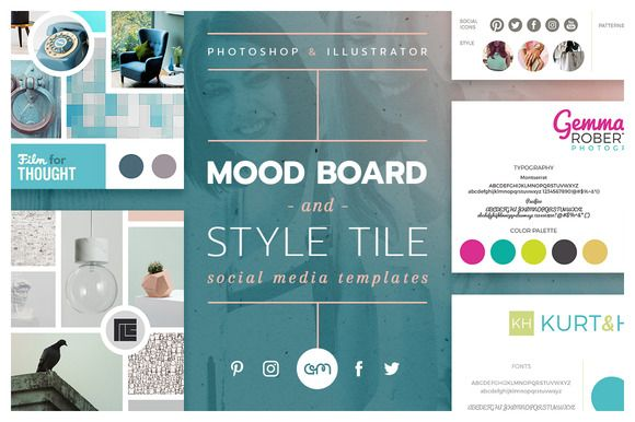 💕Mood Board / Style Tile Pack / Social media ready to use templates / Twitter / Instagram / Blog / Pinterest by AM Studio on @creativemarket