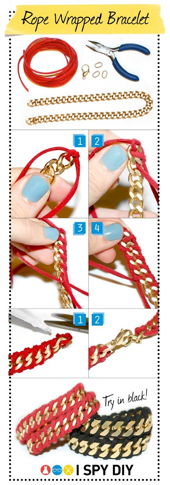 DIY rope wrapped chain bracelet, I prefer silver instead of gold