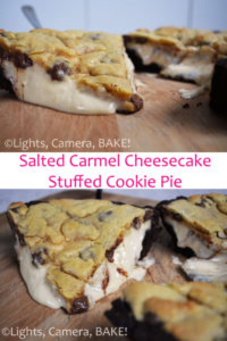 Extreme Salted Caramel Cheesecake Stuffed Cookie Pie. I call this cookie pie extreme because it is a chocolate cookie base, filled with a dreamy salted caramel cheesecake, topped off with a chocolate chip cookie! I told you... Extreme!! So gooey, decedent and moreish. Click the photo for the #recipe . #cookiepie #saltedcaramelcheesecake