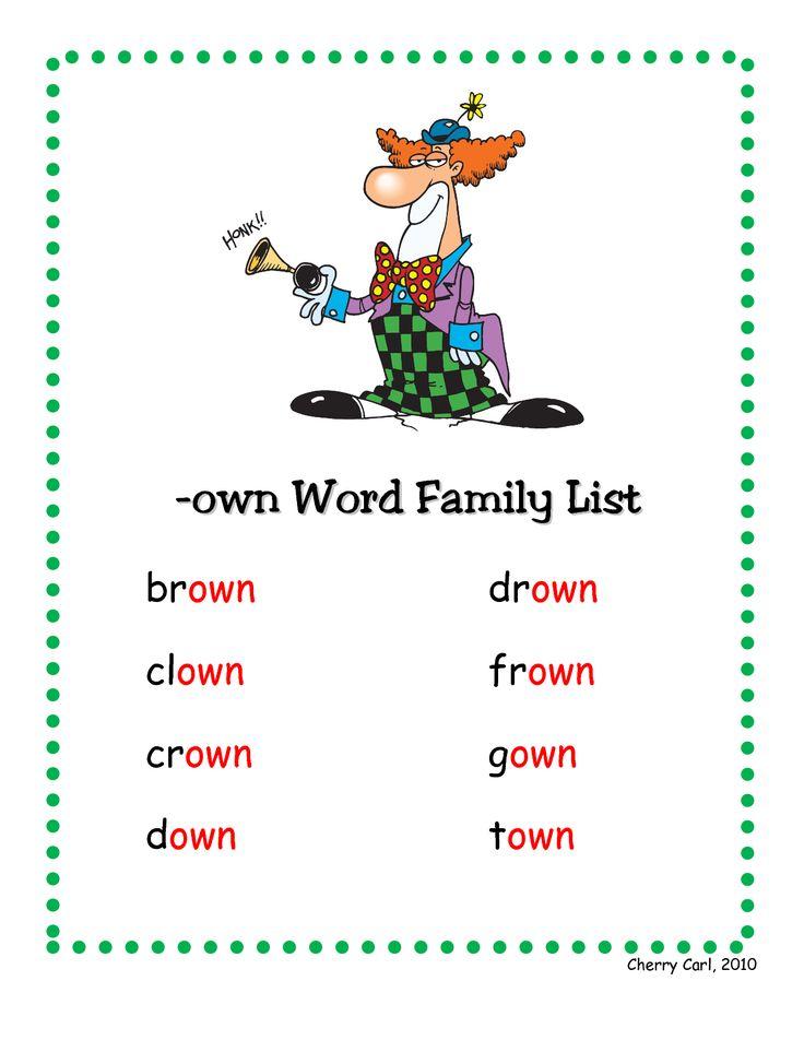 own word family list - | Reading | Pinterest