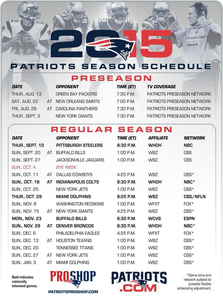 Célèbre Les 25 meilleures idées de la catégorie Patriots schedule 2016 sur  VT86