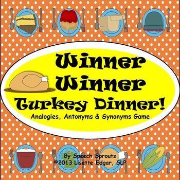 Winner Winner! Turkey Dinner Speech Therapy Game: Analogie