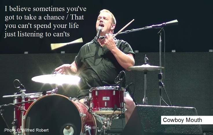 the name of the band is....Cowboy Mouth!  This drummer is a great entertainer!!  I want to see this band live in concert someday!