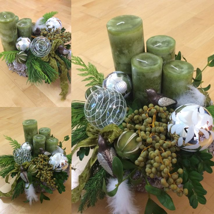 DIY Adventskranz modern grün silber … Pinteres…